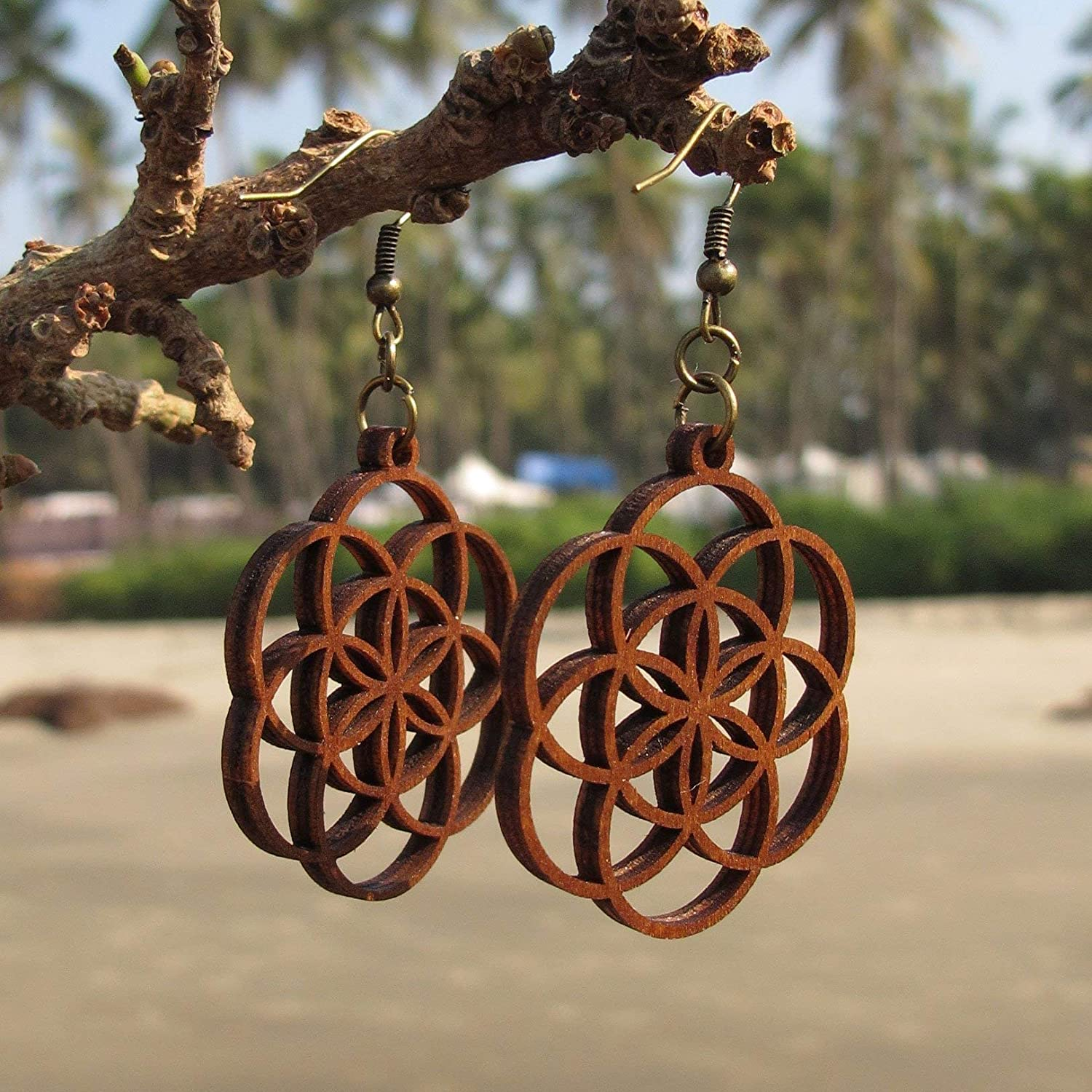 Seed of Life Earrings - Wooden earrings - Sacred Geometry Jewelry - Bohemian Earrings