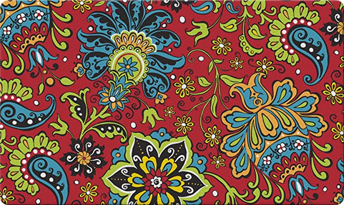 Toland Home Garden Gypsy Garden 18 x 30 Inch Decorative Floor Mat Flower Colorful Paisley Design Doormat
