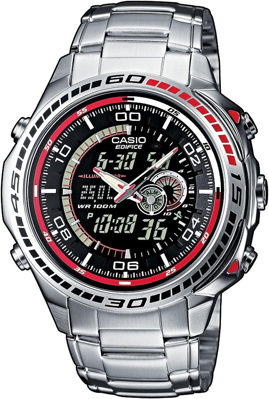 Casio EDIFICE Reloj en caja sólida, 10 BAR, Negro, para Hombre, con Correa de Acero inoxidable, EFA-121D-1AVEF