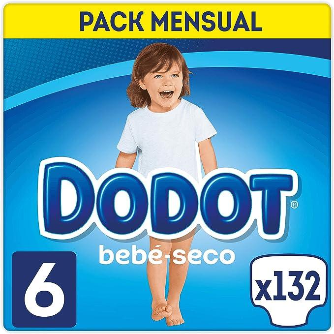 DODOT Bebé-Seco Pañales Talla 6, 132 Pañales, Pañal con Canales de Aire - 13+ kg: Amazon.es: Salud y cuidado personal