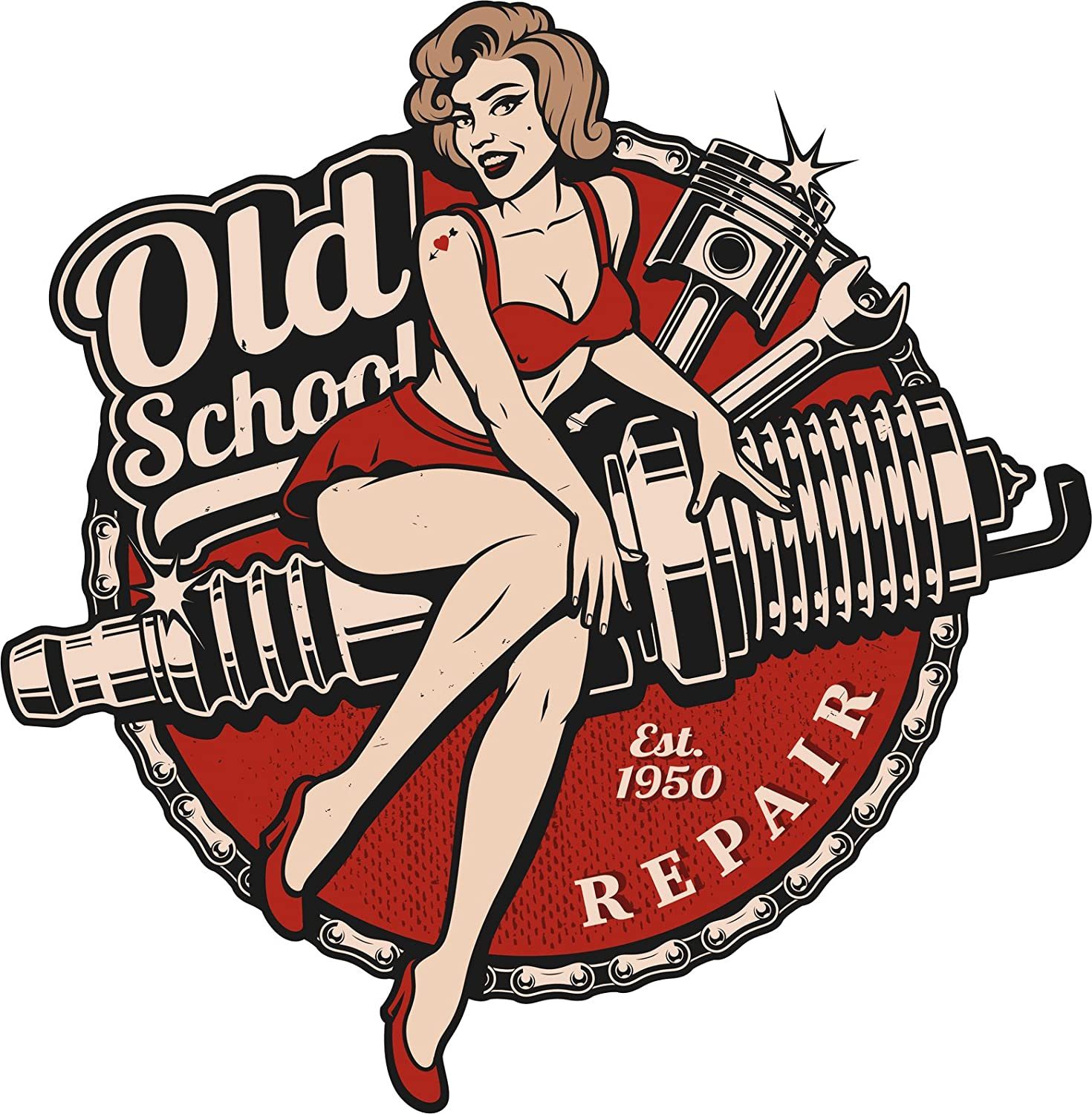 Old School Vintage Retro Pin Up Girl Repair Shop Icon Vinyl