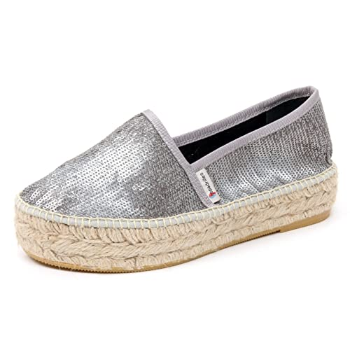 B5005 espadrillas donna ESPADRILLES scarpa argento paillettes loafer shoe woman [36] Toma El Envío Libre De La Calidad taZVb