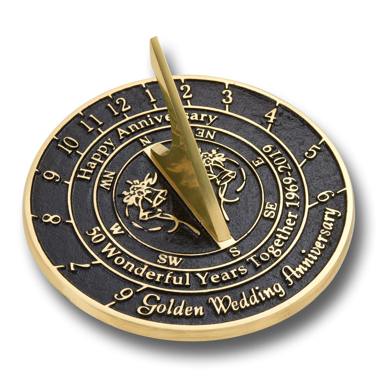 ANTIQUECOLLECTION 50th Golden Wedding Anniversary Sundial Gift