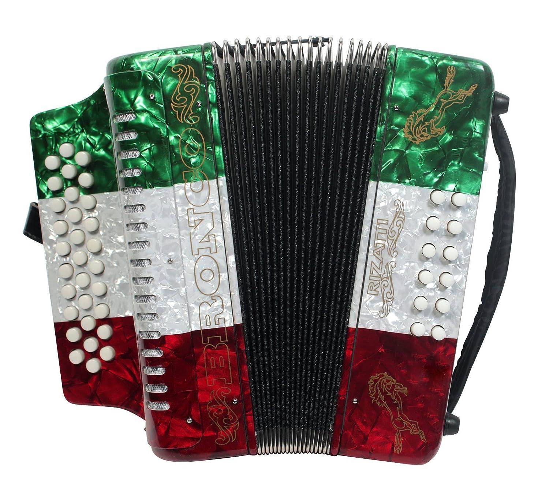 Rizatti Bronco RB31GM Diatonic Accordion Key G//C//F Mexican Flag