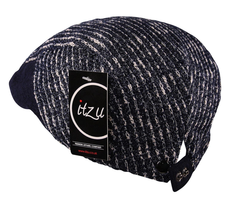 b1b8de6b810 Men s Flat Cap Hat Cross Line Striped Wool Mix Adjustable Newsboy Gatsby  Golf in Black  Amazon.co.uk  Clothing