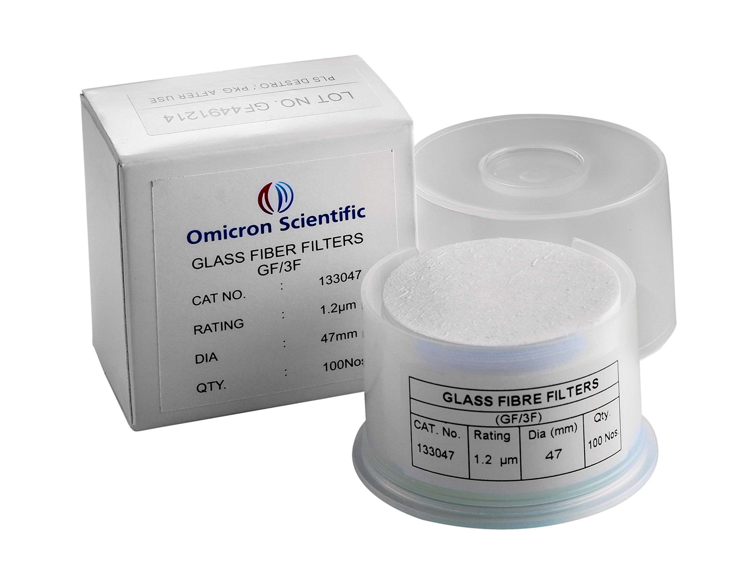Omicron 133047 Borosilicate Glass Fiber Binder Free Filter, 1.2 μm, 47 mm (Pack of 100) by Omicron