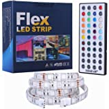 Tingkam® 1M 5050 RGB Colour Changing LED Strip Kit 44 Key Remote Controller 1.5A UK Plug Power Supply Mood Lights for Cabinet Dispaly/TV Back Decoration