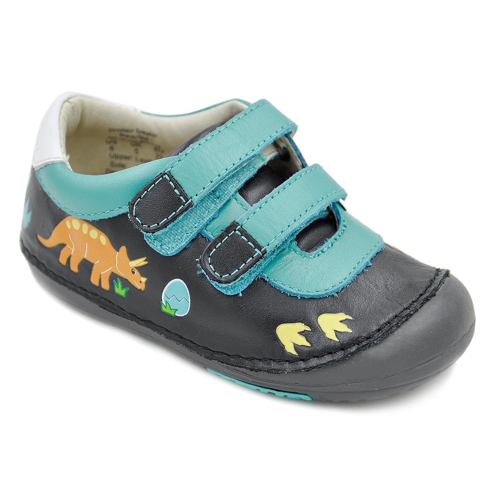 Momo Baby Boys First Walker/Toddler Dinosaur Sneaker Black/Teal Leather Shoes - 5 M US Toddler