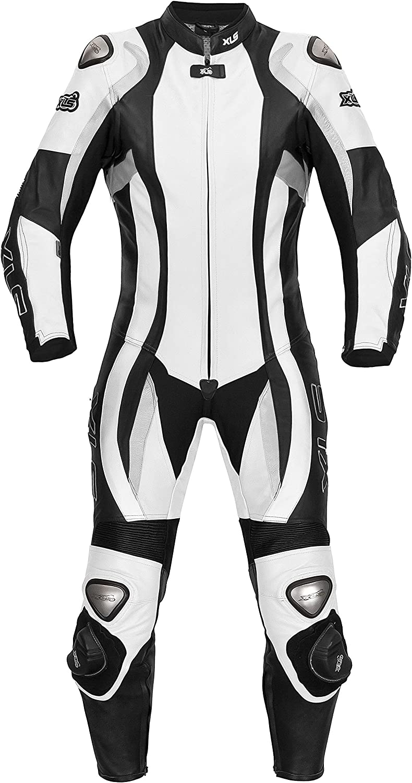 Mono de cuero para mujer de XLS, modelo Daytona, de una pieza en blanco y negro