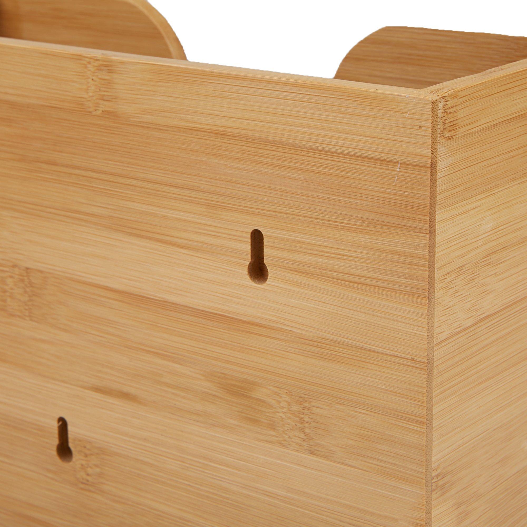 Mind Reader Bamboo Wall Mount Interfold Napkin Dispenser Organizer, Brown by Mind Reader (Image #6)
