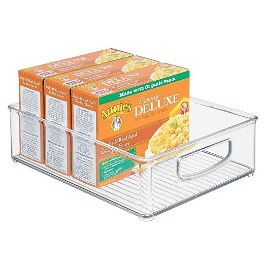 iDesign Caja transparente para el frigorífico, organizador de cocina grande de plástico, organizador de nevera con asas y sin tapa, transparente