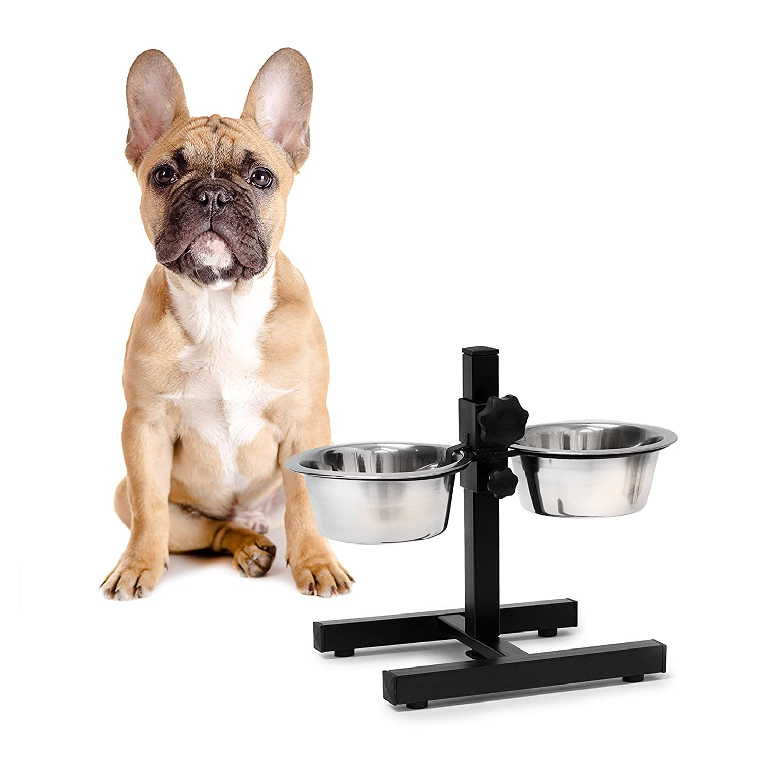 Relaxdays Stainless Steel Feeding Bowl Set Of 2 With Height-Adjustable Stand, Dog Feeding Station With 2 Removable Bowls Cat Feeder Metal Elevated Raised Standing Feeder Bowl Set, Medium, Silver 10019116-398