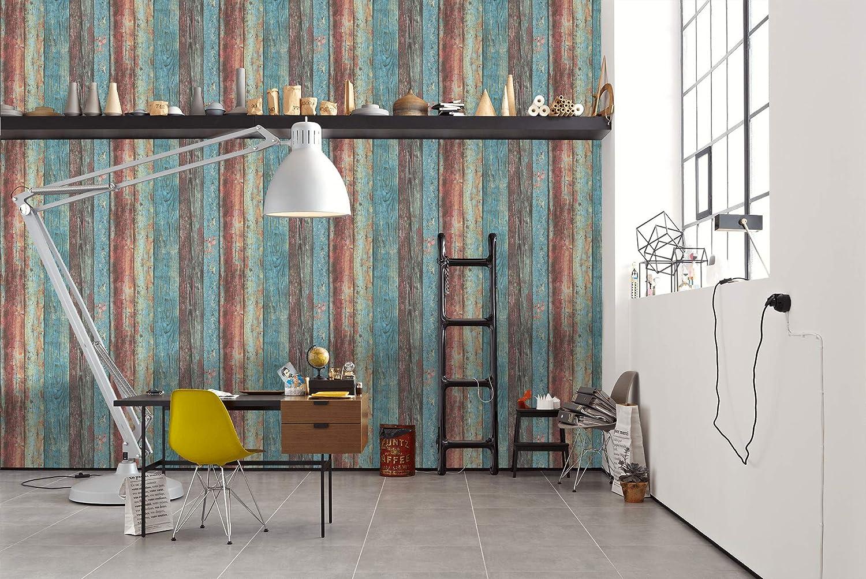 Cr/éation 307231 30723-1 Best of Woodn Stone Papel pintado para pared A.S 10,05 m x 0,53 m color azul