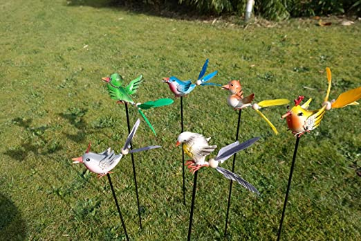 Vogel Conector con plumas pájaro metal Decorar Conector Jardín, varilla lacado Bancal Conector: Amazon.es: Jardín