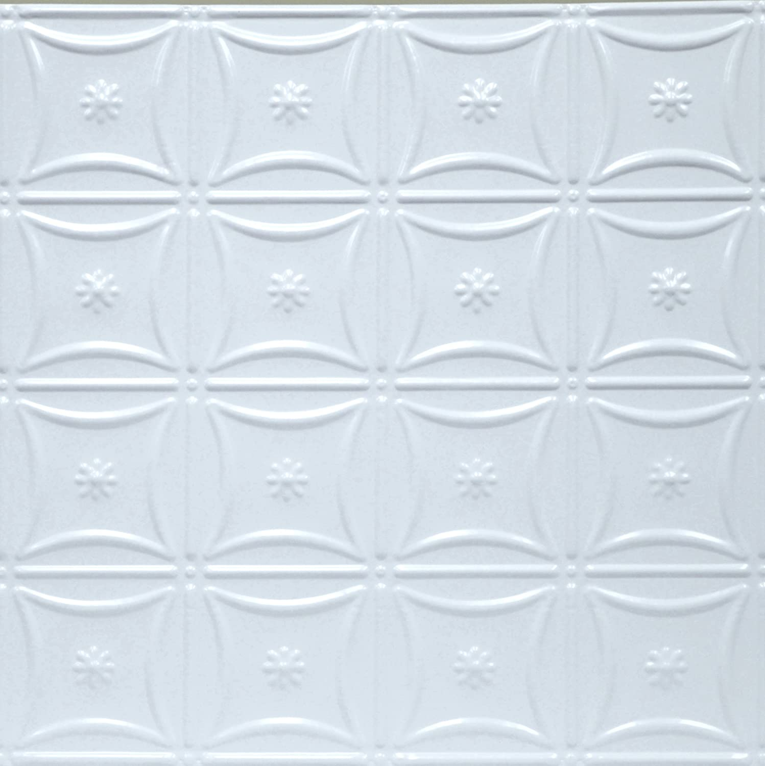 5 Piece ft 20 sq Shanko W200DA Pattern 200 Pressed Metal Wall and Ceiling Tiles White