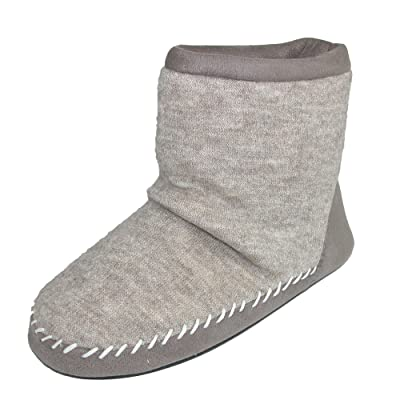 ISOTONER Women's Microsuede & Heather Knit Marisol Boot Oatmeal Heather Small 5-6 | Slippers