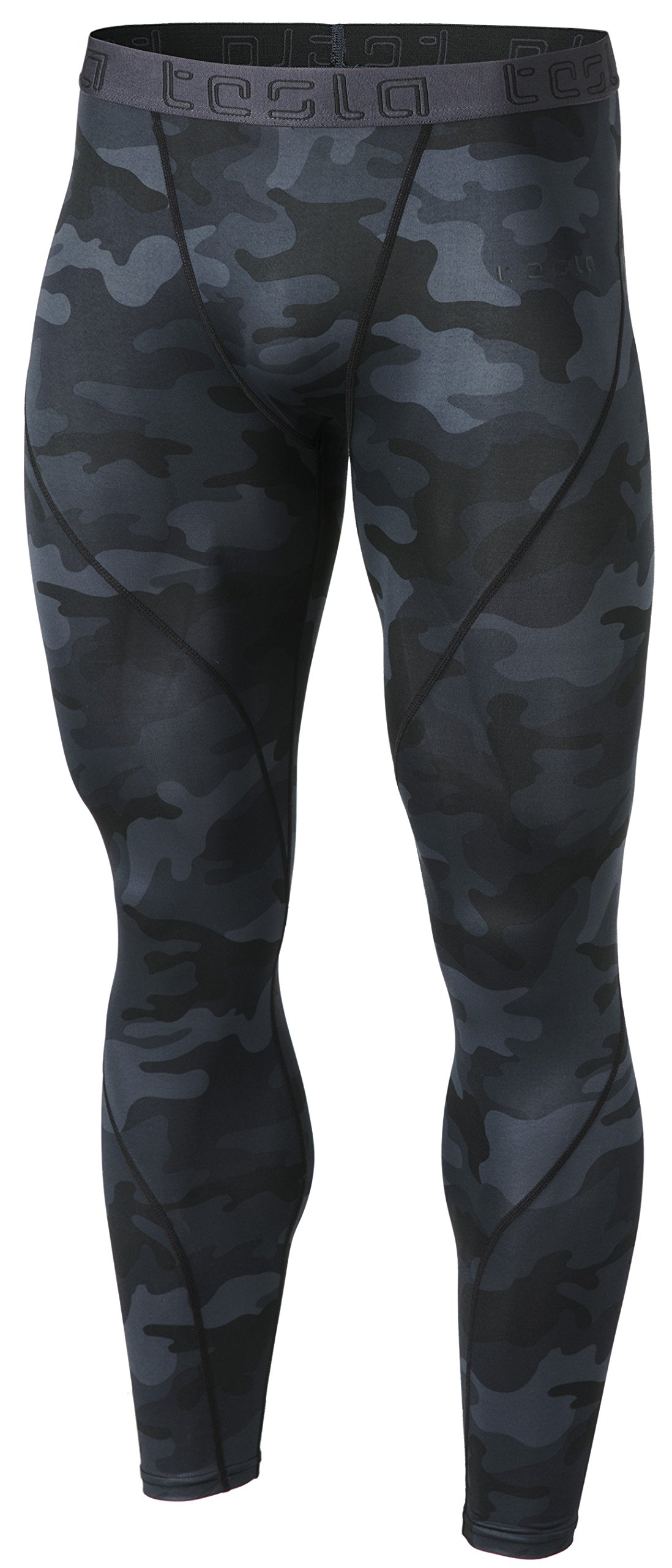 TSLA Men's Compression Pants Running Baselayer Cool Dry Sports Tights, Athletic(mup19) - Camo Black, X-Large by TSLA