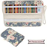 Damero Pencil Wrap, Pencil Roll for 100 Pencils, Fits for School/Office Art Craft, Travel and More--No Pencils Included, Peony