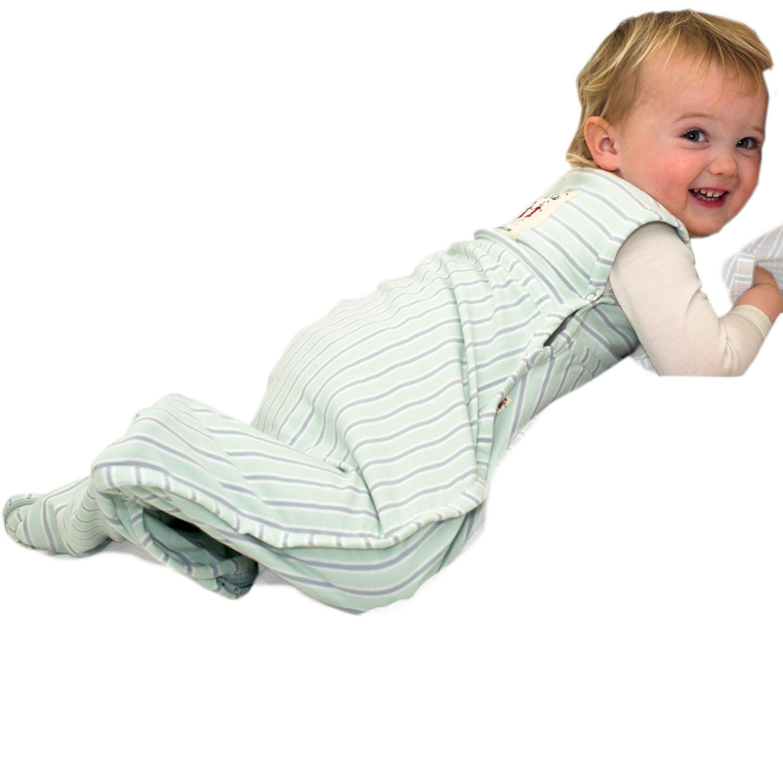 Merino Kids Baby Sleep Bag For Babies 0-2 Years, Light Green/Light Grey Stripe