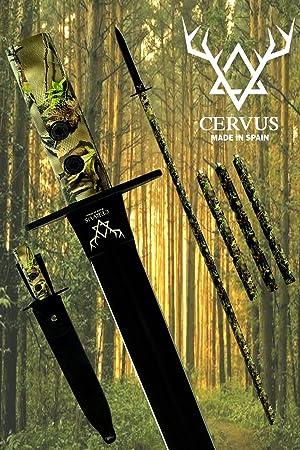 Cervus - Lanza de Caza, Tratamiento OP-Coated®, Funda de Cuero para de Cuero para Cuchillo y Funda portapalos, Acero MOVA-58 (un sólo Filo). Diseñada ...
