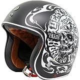 TORC T50 Route 66 Smoke Skull Lucky 13 Open Face Helmet (Flat Black, Large)