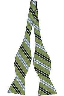 Necktie - Green plain weave, ribbed stripes in two blues Notch