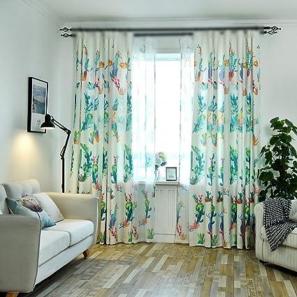 Living Room Curtains With Grommet Top Color Cactus Flowers Design Semi Blackout Drapes Window Treatment