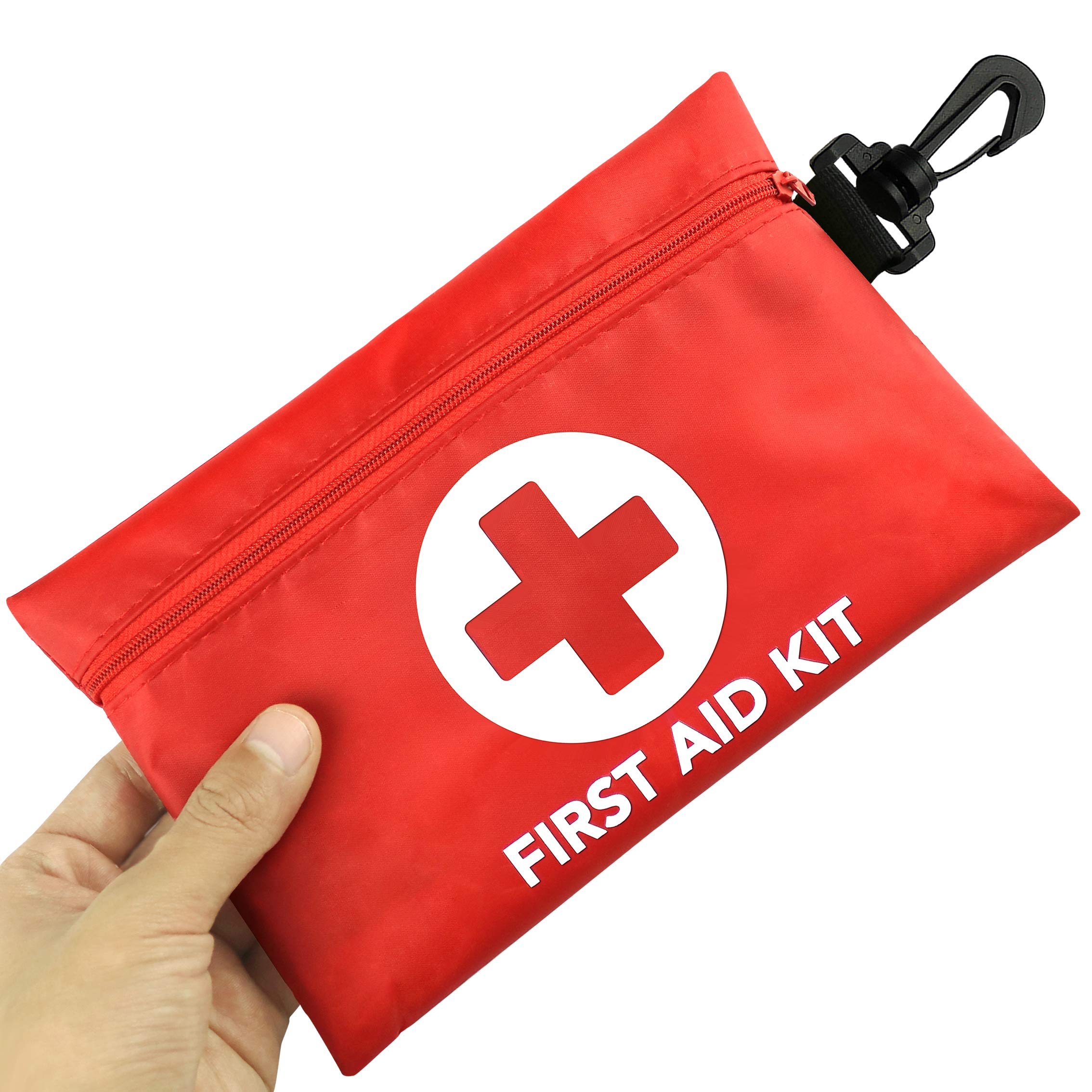 Small First Aid Kit, 100 Pieces Compact Waterproof Mini Emergency Survival Kit FDA OSHA Compliant for Home, Workplace, Vehicle, Travel, Camping, Backpacking Outdoor (Red) by RISEN