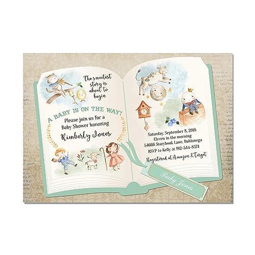 amazon com nursery rhyme storybook baby shower invitations in green