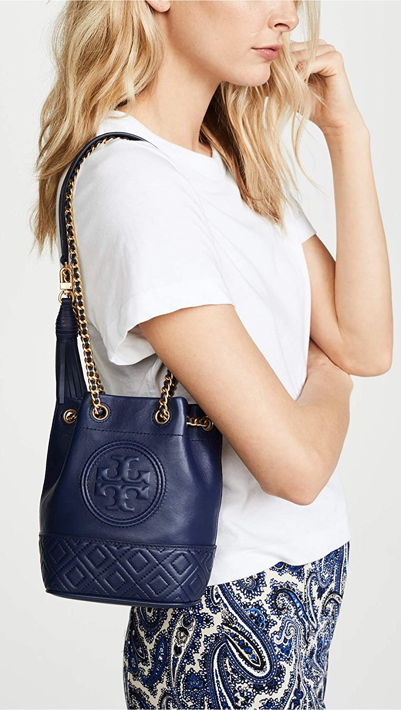 d9dcd095c Tory Burch Women's Fleming Mini Bucket Bag, Royal Navy, One Size: Handbags:  Amazon.com