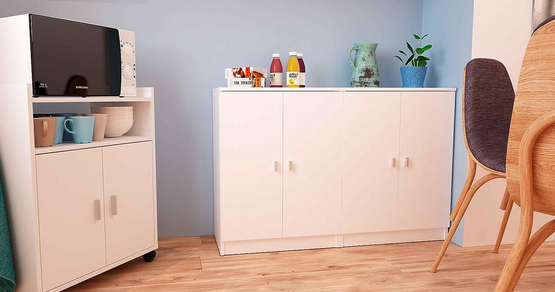 Samblo Senchi melamina color blanco Armario bajo de cocina con 2 puertas de 60 cm de ancho