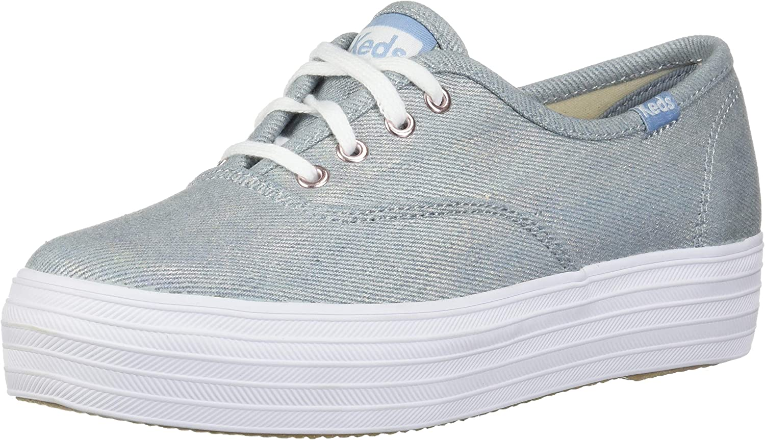 Pick A Size Keds Women/'s Champion Iridescent Denim Lace-Up Sneakers Light Grey