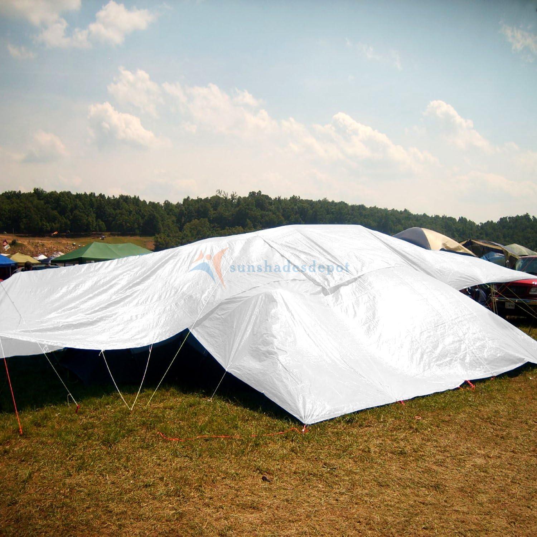 Sunshades Depot 12 x 24 Feet Heavy Duty 10 Mil White Multi-purpose Waterproof Poly Tarp Cover Tent Shelter Camping Tarpaulin