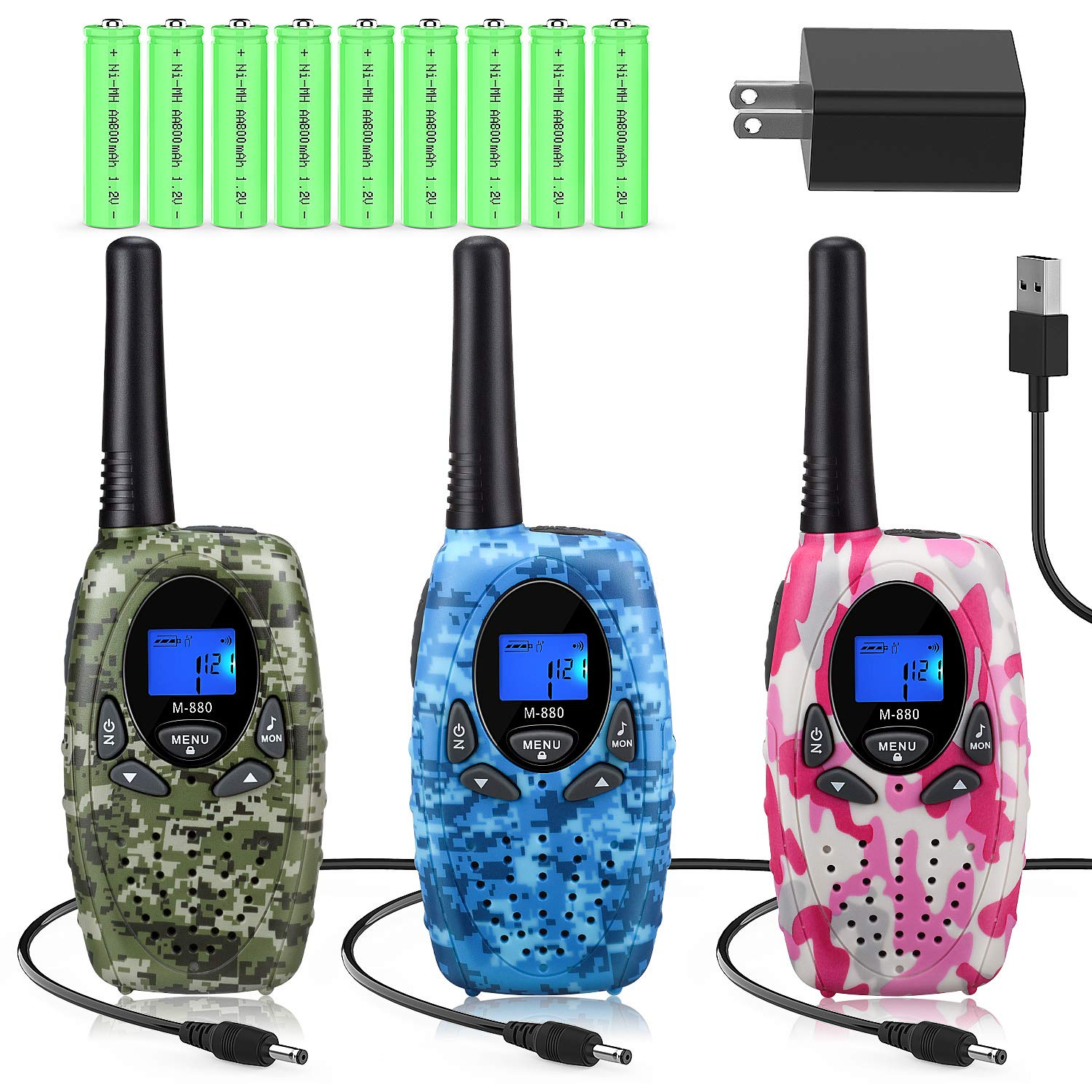 Topsung 3 Walkie Talkies Rechargeable for Adults, M880 FRS Rechargeable Two Way Radios Long Range with Charger Batteries, Upgraded Version Portable Walky Talky for Camping (Camo Blue Green Pink)