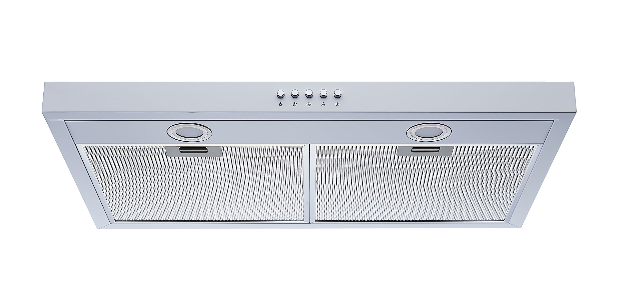 Winflo 30'' Under Cabinet White Color European Slim Design Kitchen Range Hood Push Button Control Included Dishwasher-Safe Aluminum Filters and LED Lights