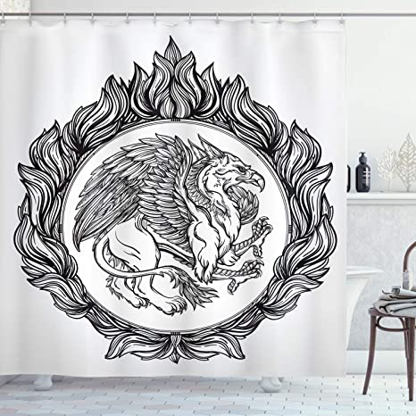 Ambesonne Vintage Shower Curtain Mythological Winged Magic Beast Griffin in Ring of Fire Victorian Heraldry Emblem Black White 70 Long Cloth Fabric Bathroom Decor Set with Hooks