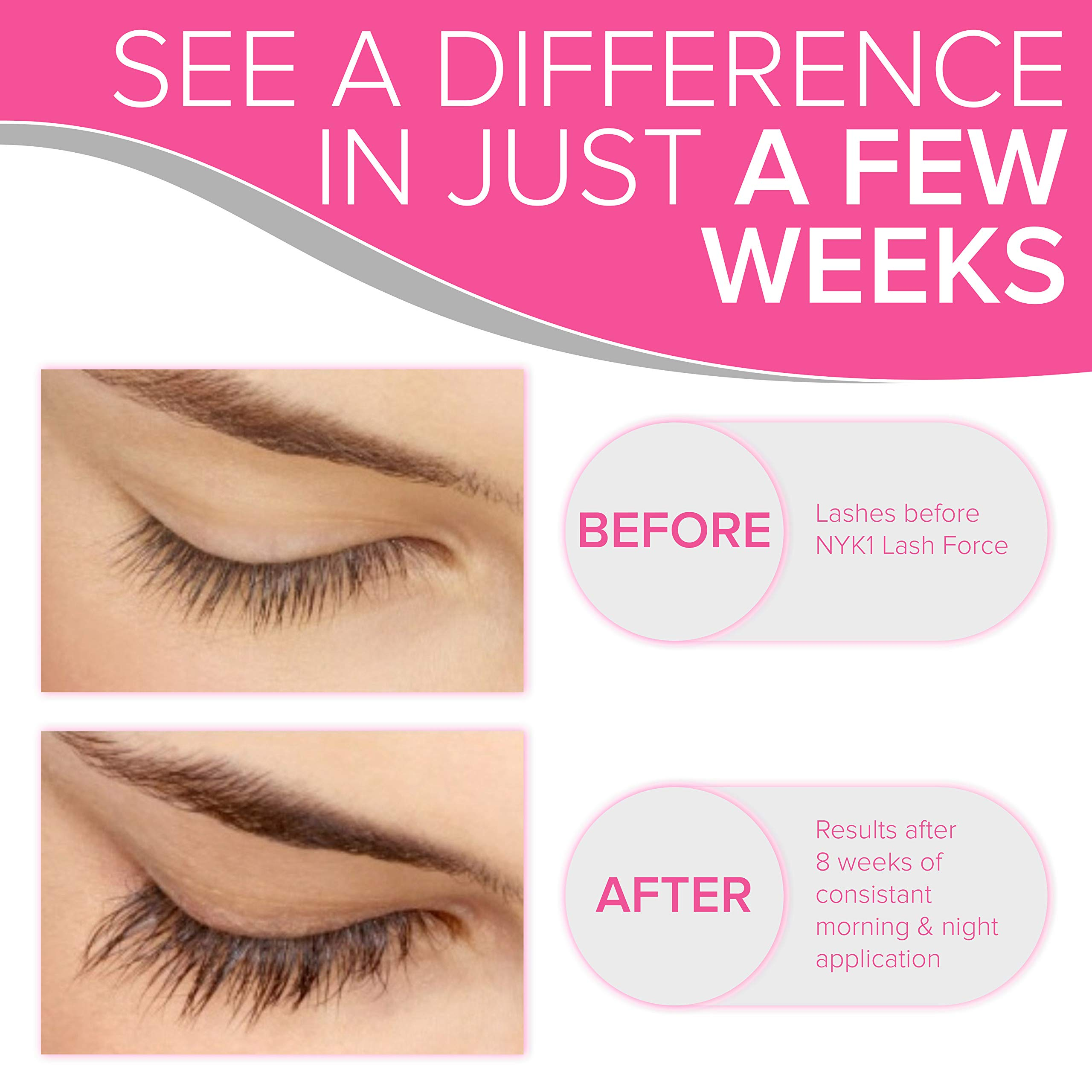 AMAZING Lash Force Eyelash Growth Serum BEST SELLER (8ml) NYK1 Eyelash Serum Brow Lash Growth Serum THE ONE LASH SERUM THAT REALLY WORKS Grow Thicker Longer Lift Eyelashes Enhancer Rapid Lash Growth