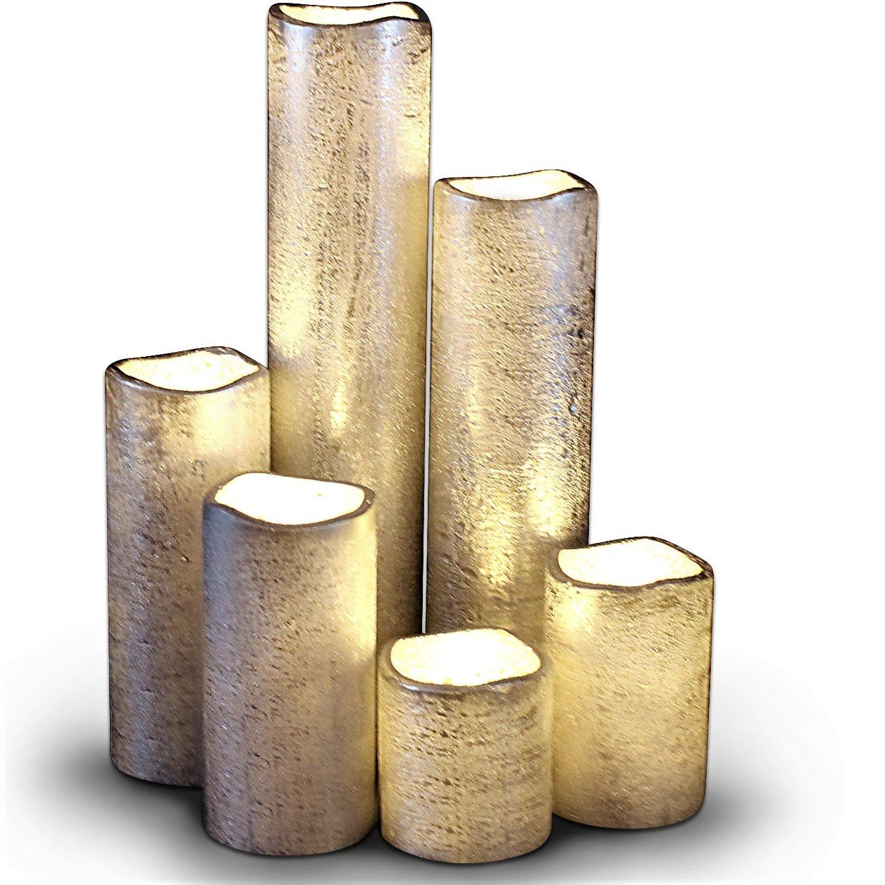 Silver Flameless Timer LED Candles - Slim Set of 6, 2'' Wide and 2''- 9'' Tall, Rustic Silver Coated Wax and Flickering Warm White Flame by LED Lytes Flameless Candles by LED Lytes
