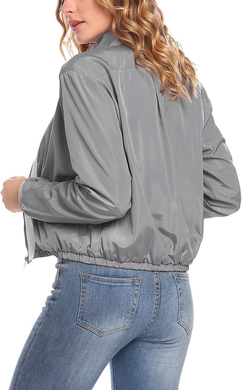 etuoji Womens Classic Windbreaker Patchwork Zip Up Solid Short Pilot Jacket Bomber Jacket
