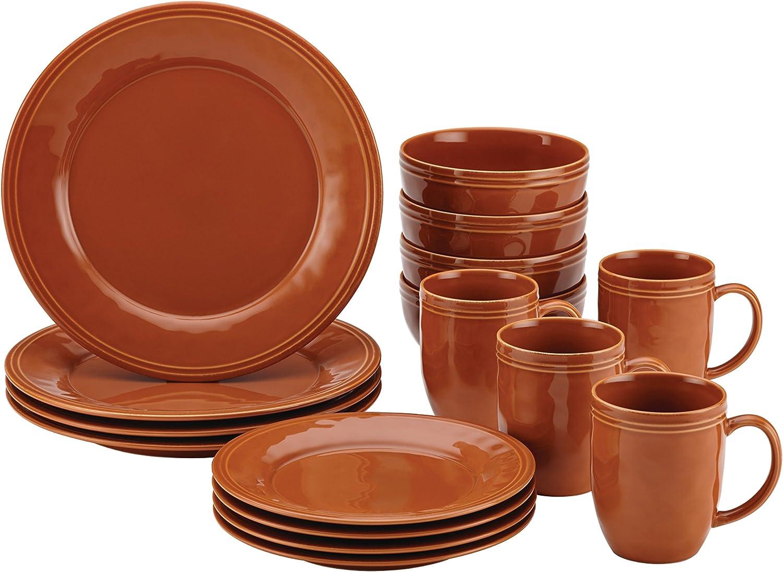 Rachael Ray Cucina Dinnerware 16-Piece Stoneware Dinnerware Set, Pumpkin Orange