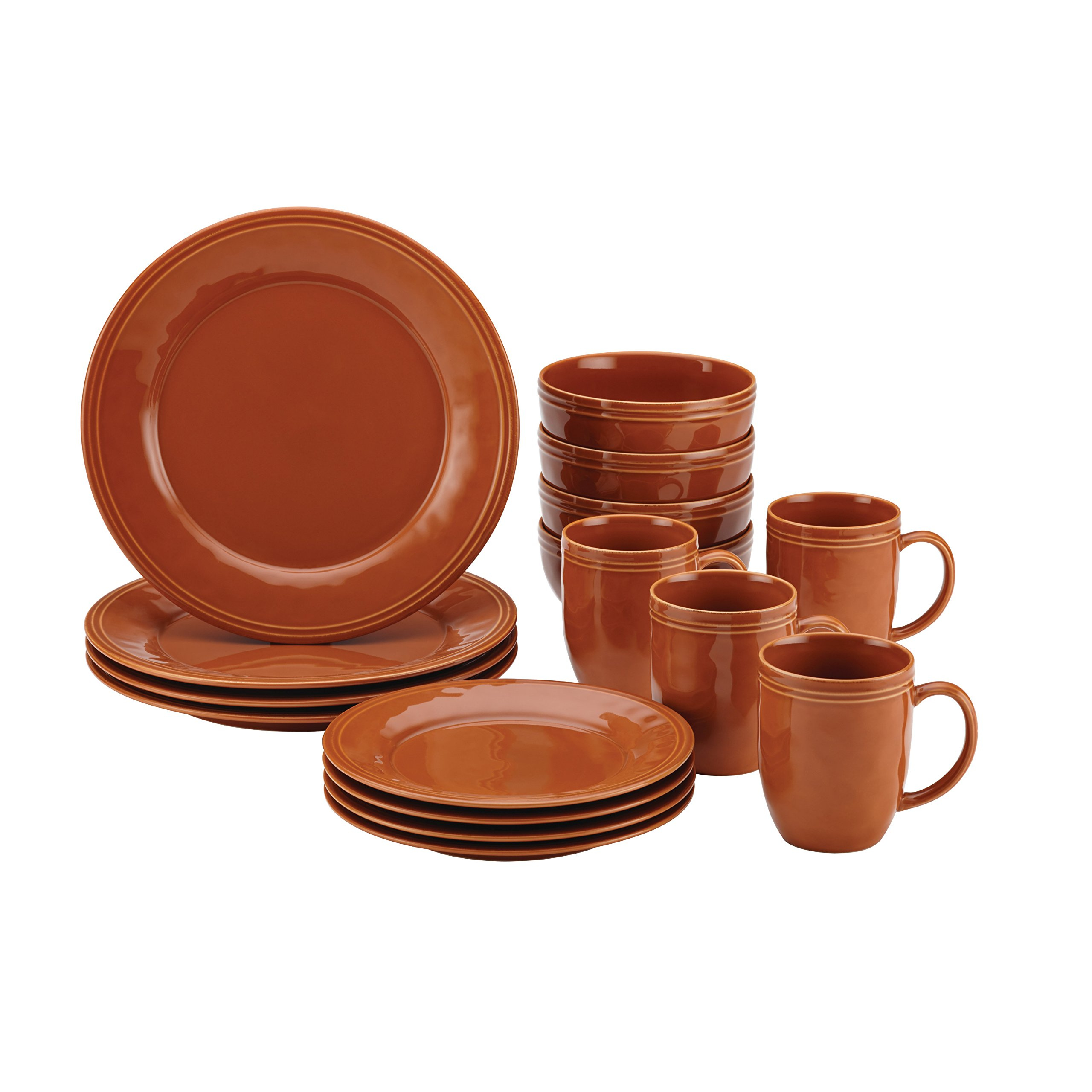 Rachael Ray Cucina 16-Piece Stoneware Dinnerware Set, Pumpkin Orange