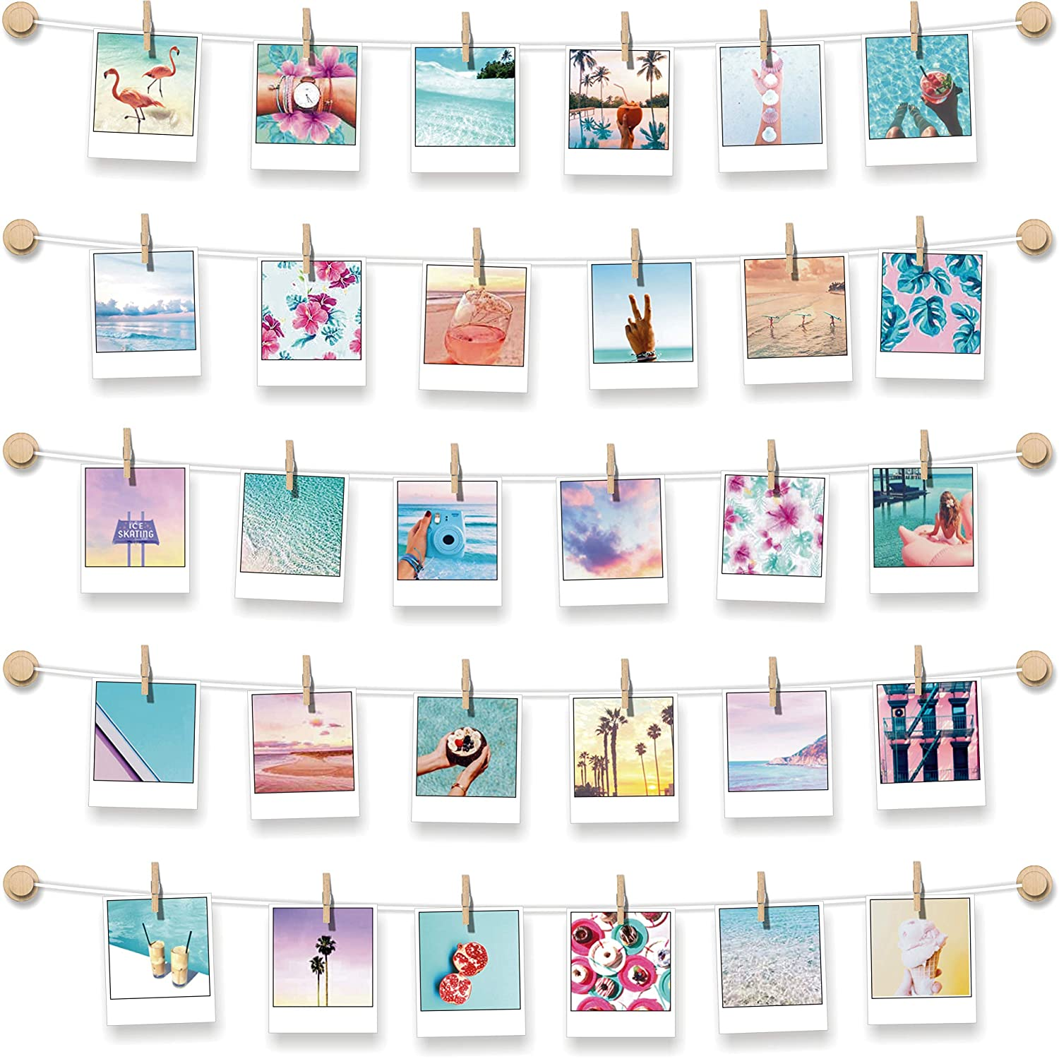 BIZYAC Instant Photo Display - Wall Hanging String with Clips - 3M Self Adhesive - Stick and Hang - No Wall Holes Drilling - 30 x 30 inch