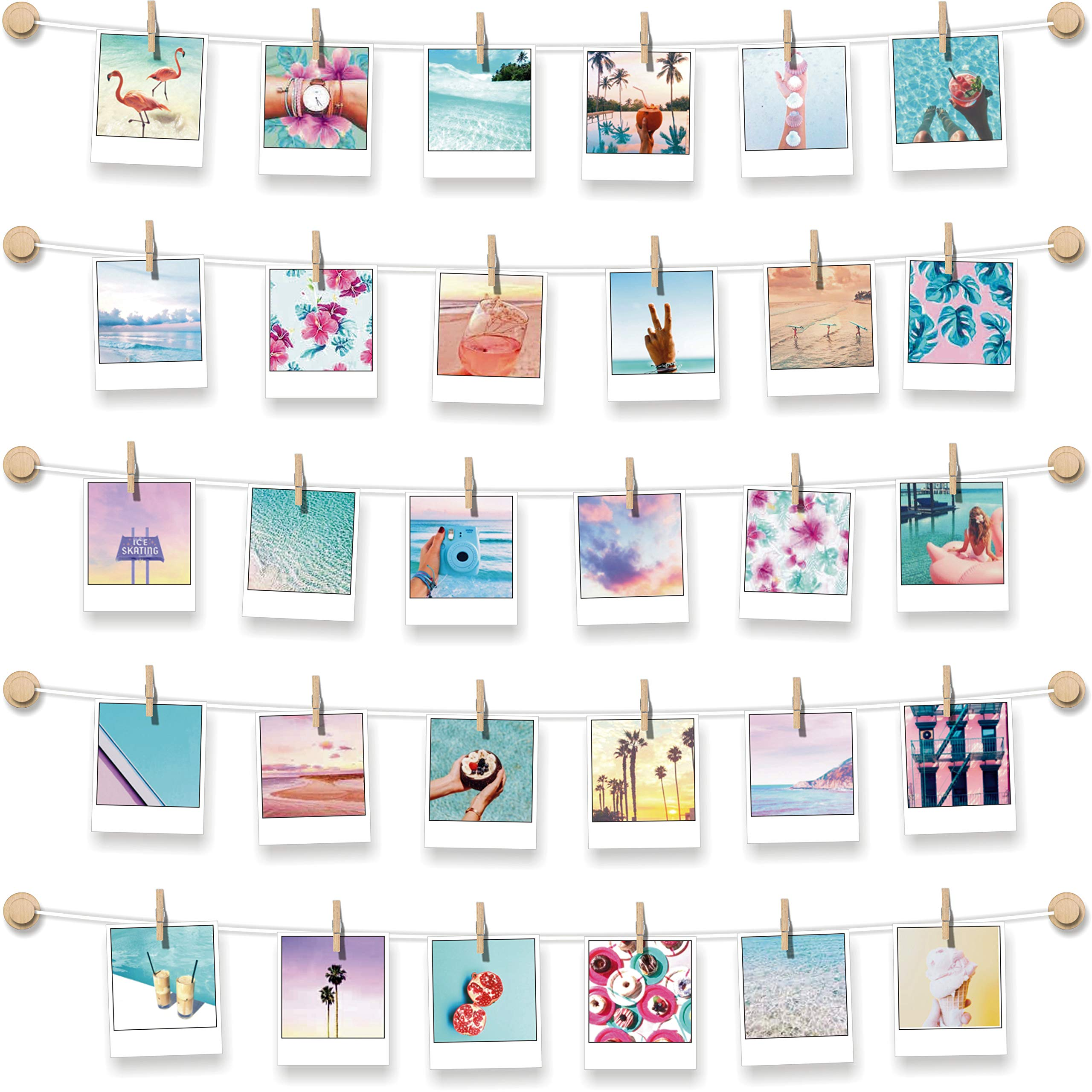 BIZYAC Instant Photo Display - Wall Hanging String with Clips - 3M Self Adhesive - Stick and Hang - No Wall Holes Drilling - 30 x 30 inch by BIZYAC