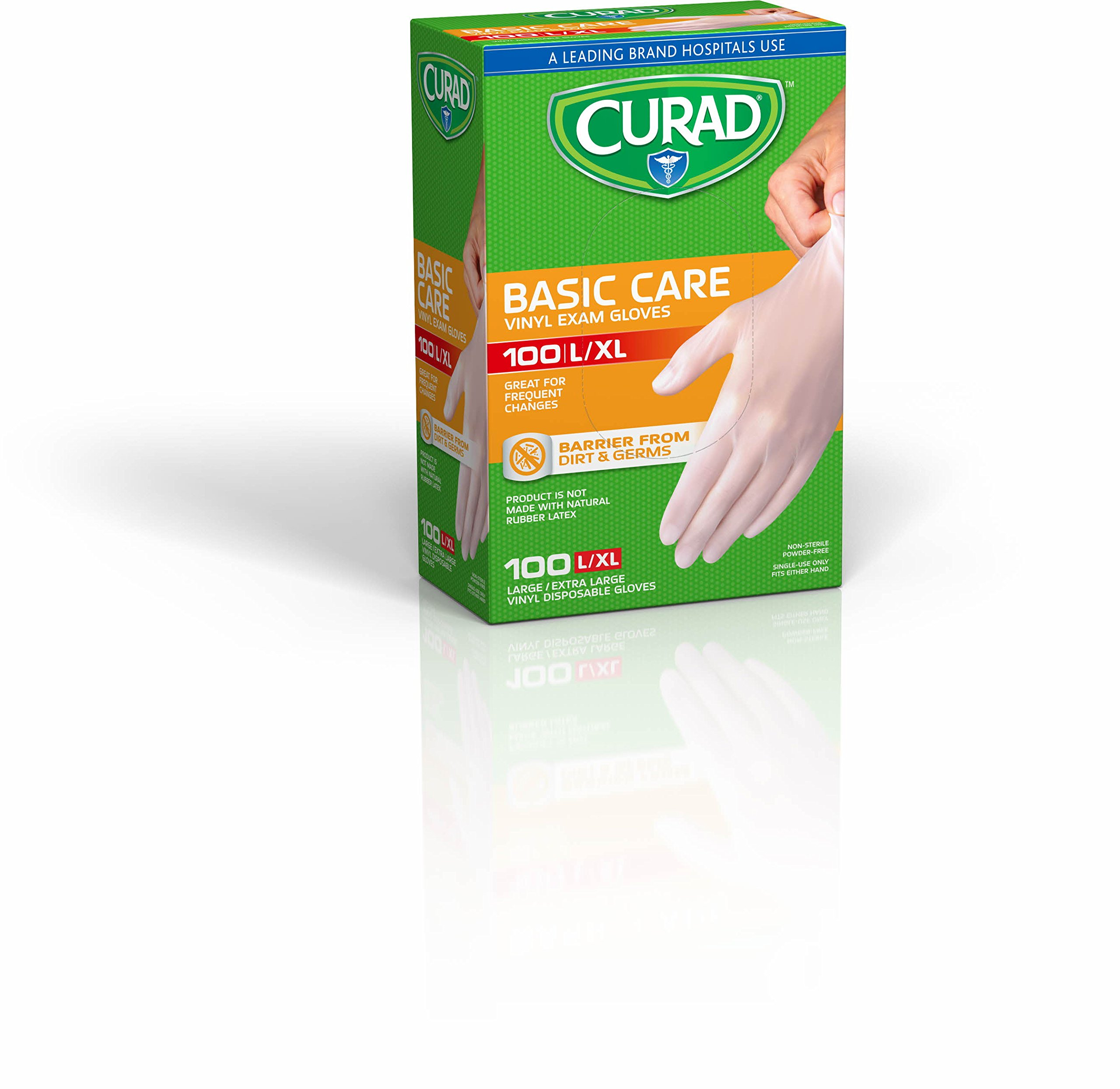 Curad CUR4136W Basic Care Vinyl Exam Gloves, Large/X-Large, 100 Count