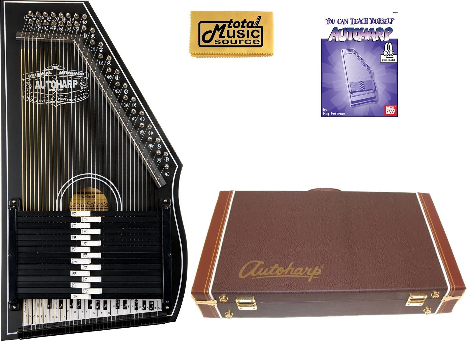 Oscar Schmidt 1930's Reissue 15 Chord Autoharp, Original Design, Black, OS73B w/Hard Case, OS73B AC449PACK