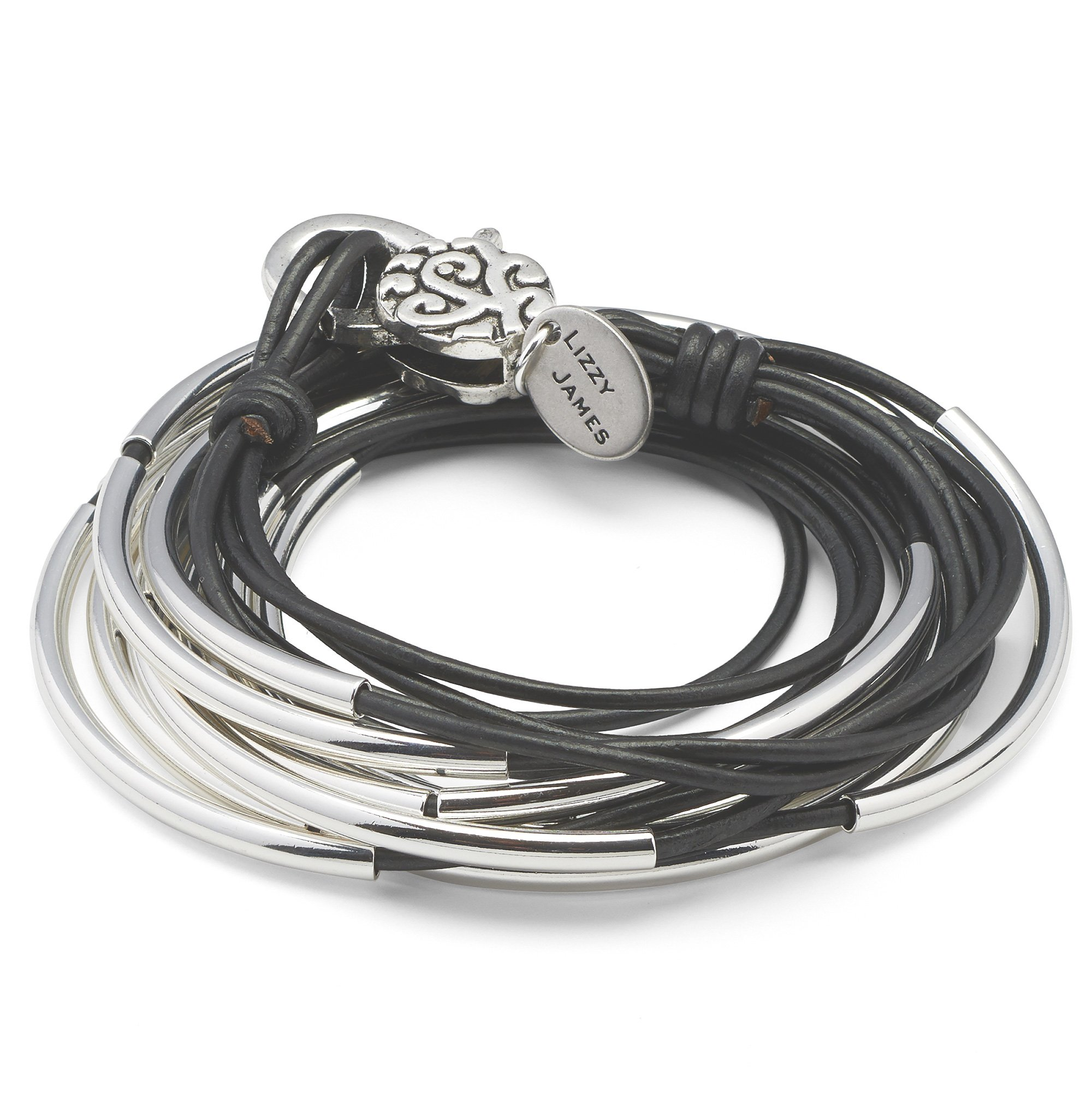 Lizzy Classic Silverplate 4 Strand Wrap Bracelet Necklace in Metallic Gunmetal Leather Size Small