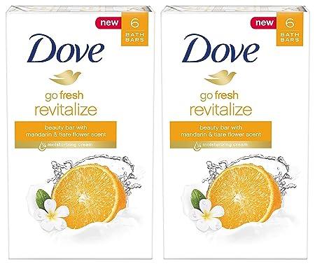 Dove Go Fresh Revitalize Beauty Bar, Mandarin and Tiare Flower, 4 Ounce, 6 Bar Pack of 2 12 Bars Total