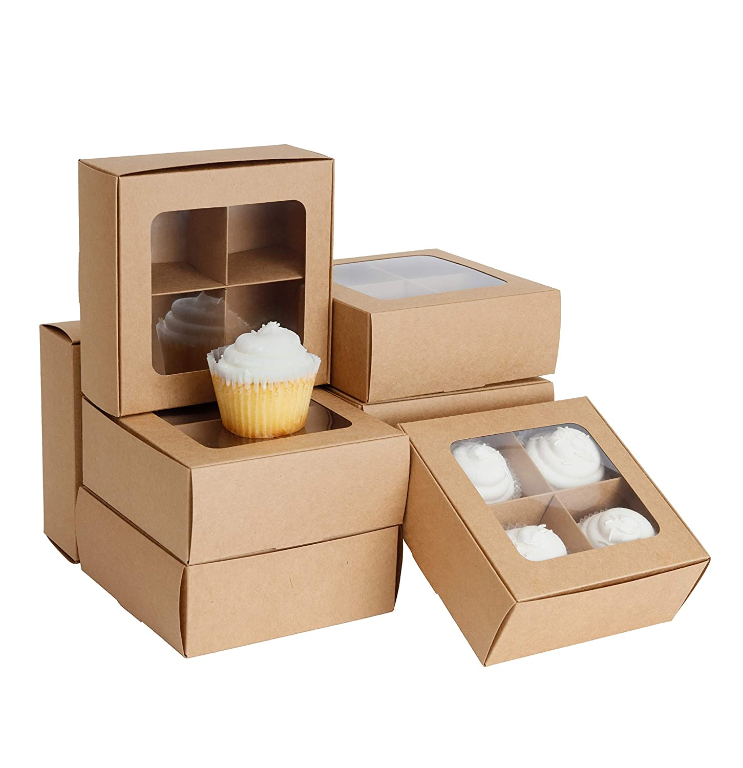 Gretel Medium Brown Bakery Boxes with Window and Dividers   6x6x2.4 in   Four Compartment Treat Boxes for Low Profile Cupcakes, Small Cookies, and Baked Goods for Gift Giving   24 Pack (Kraft)