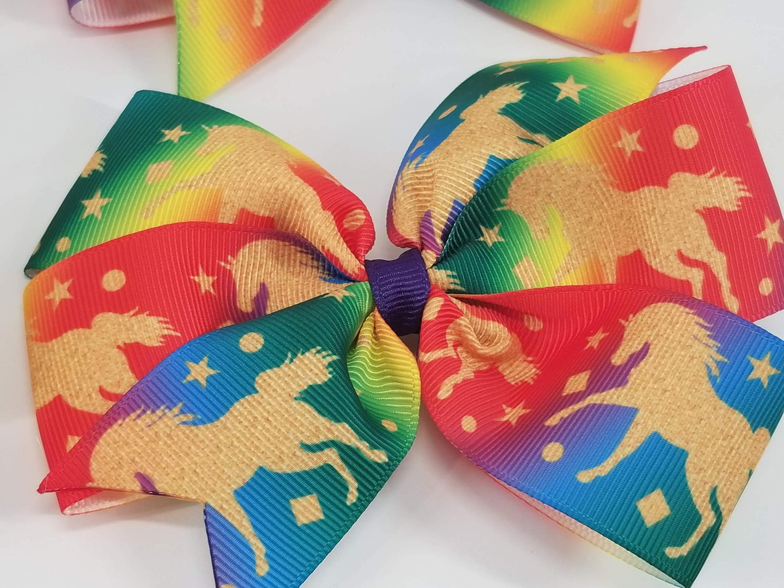 Rainbow Unicorns Hair Bow 6