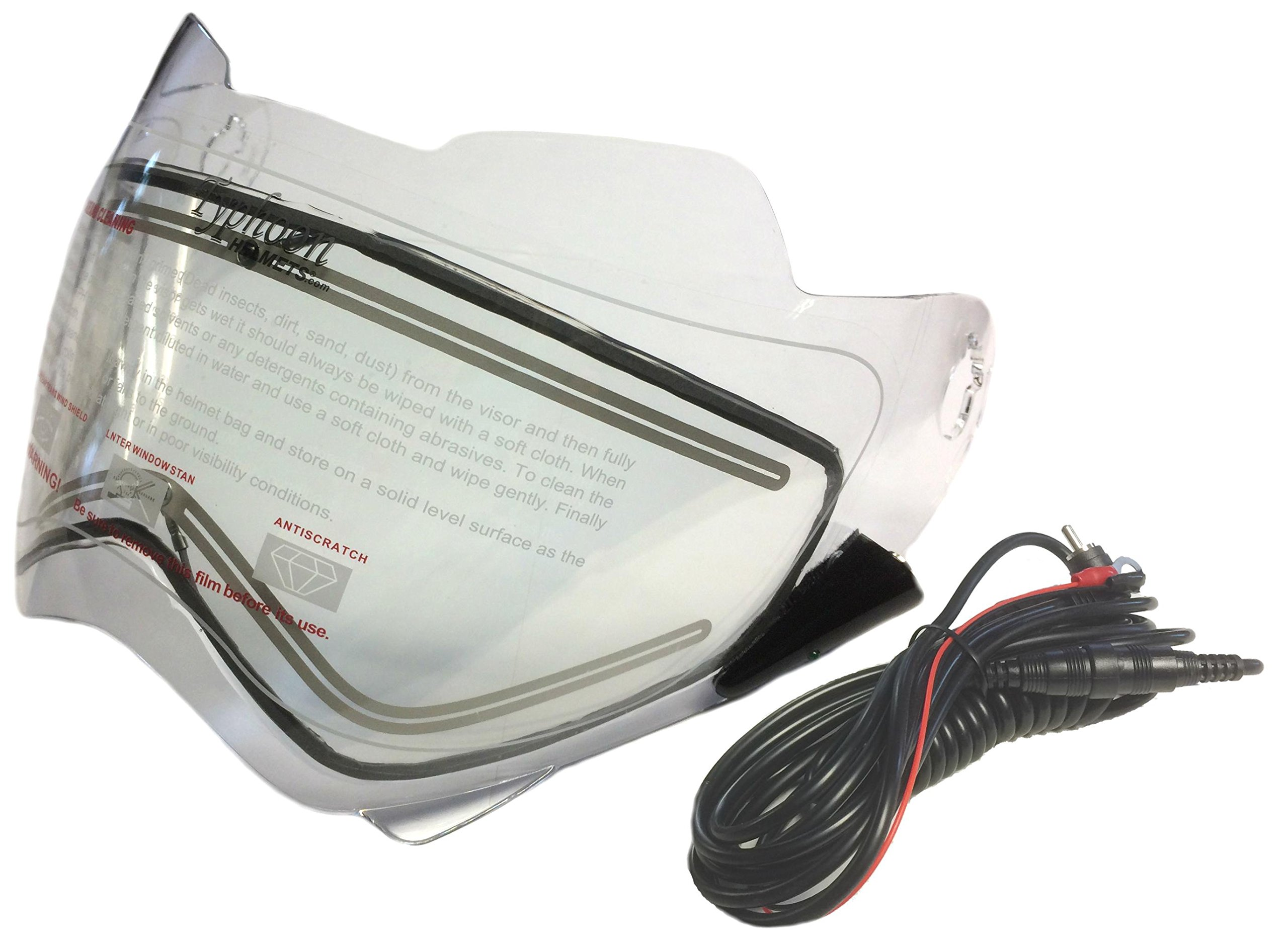 Electric Heated Shield and Cord for Typhoon Helmets XP14 Adult Dual Sport Helmet by Typhoon Helmets